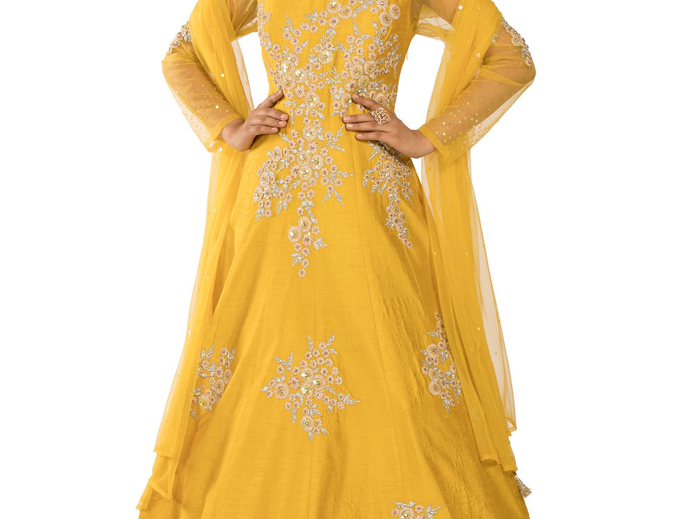 Lemon Yellow Readymade Designer Silk Suit with Dupatta (Style Code: 2312143)