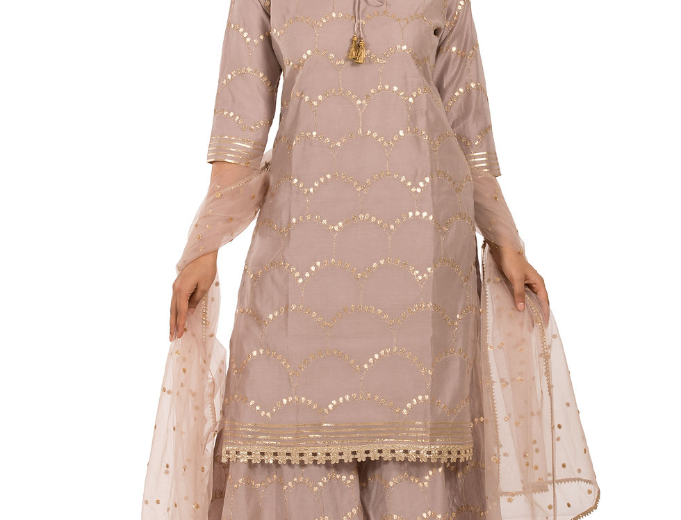 Fawn Color Crepe Suit with Sharara & Dupatta (Style Code: 2388452)