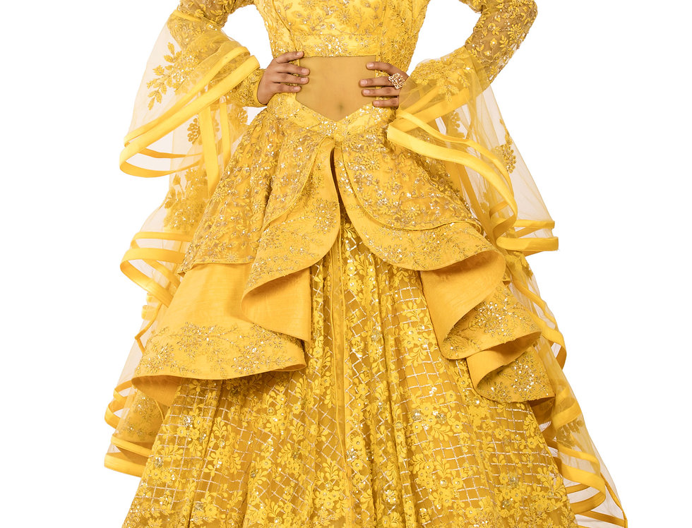Yellow Base Party Wear Gown with Stylish Frill Design (Style Code: 2369915)