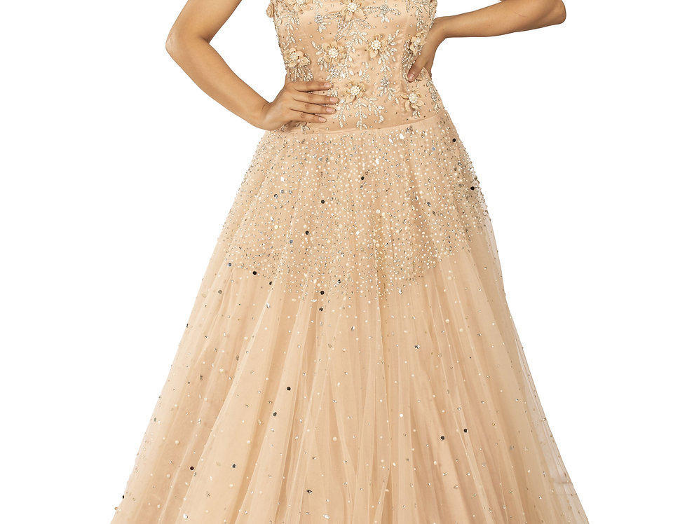 Rose Gold Party Wear Gown with Self Pearl & Mirror Work (Style Code: 2337457)