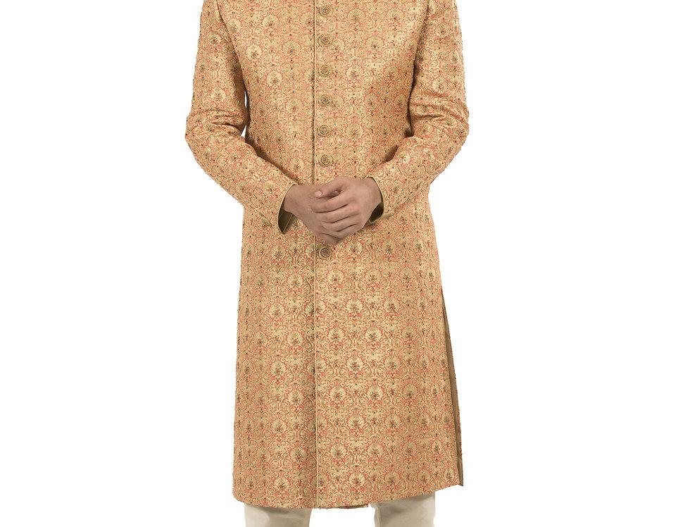 Gold Base Brocade Sherwani with Embroidery & Churidar (Style Code: 2339105)