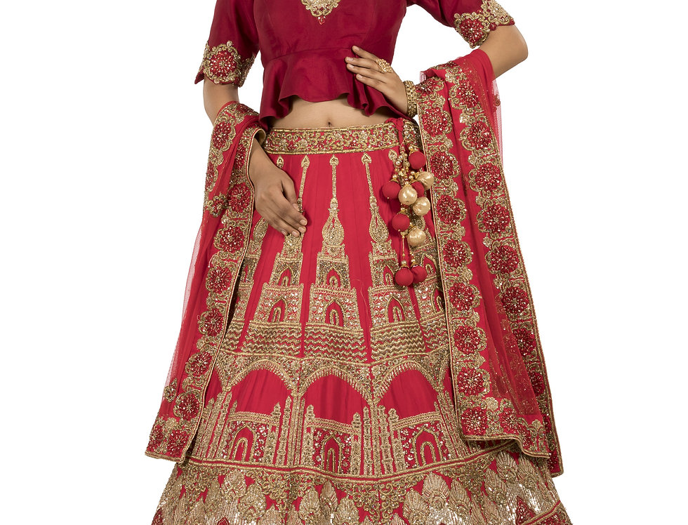 Coral Red Base Silk Lehenga with Sequence Work & Dupatta (Style Code: 2267377)