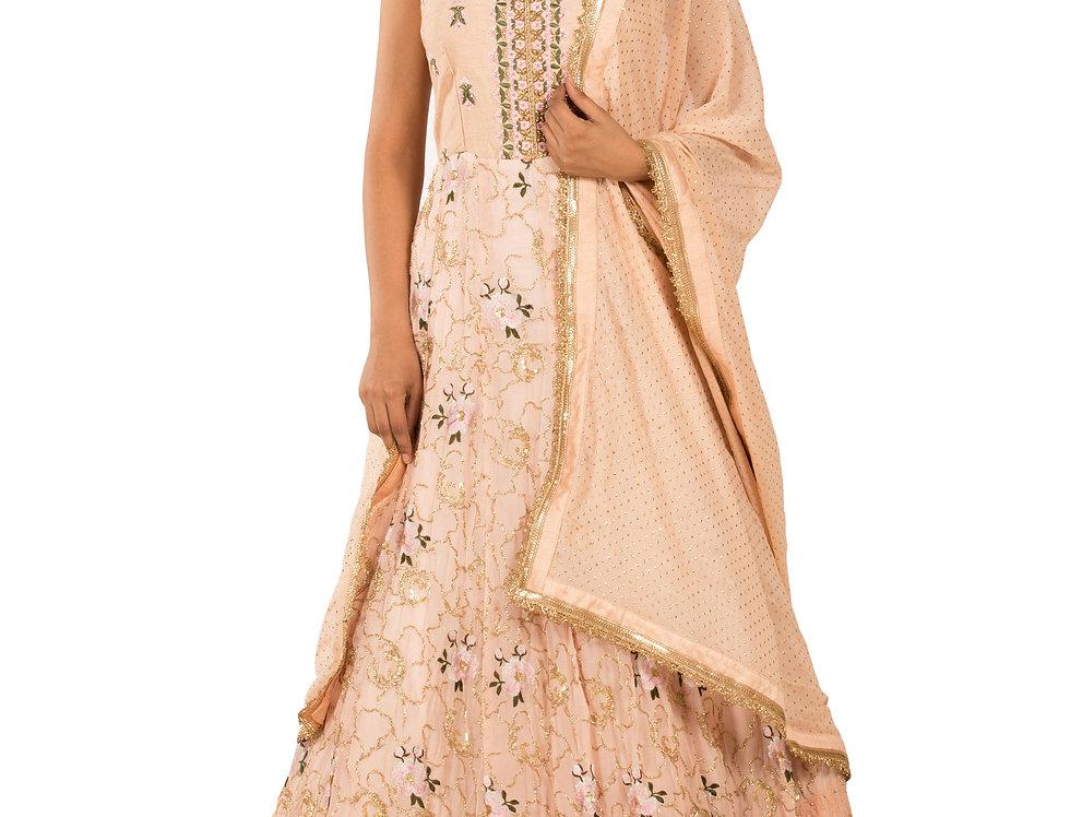 Peach Readymade Anarkali Suit & Dupatta (Style Code: 2345190)