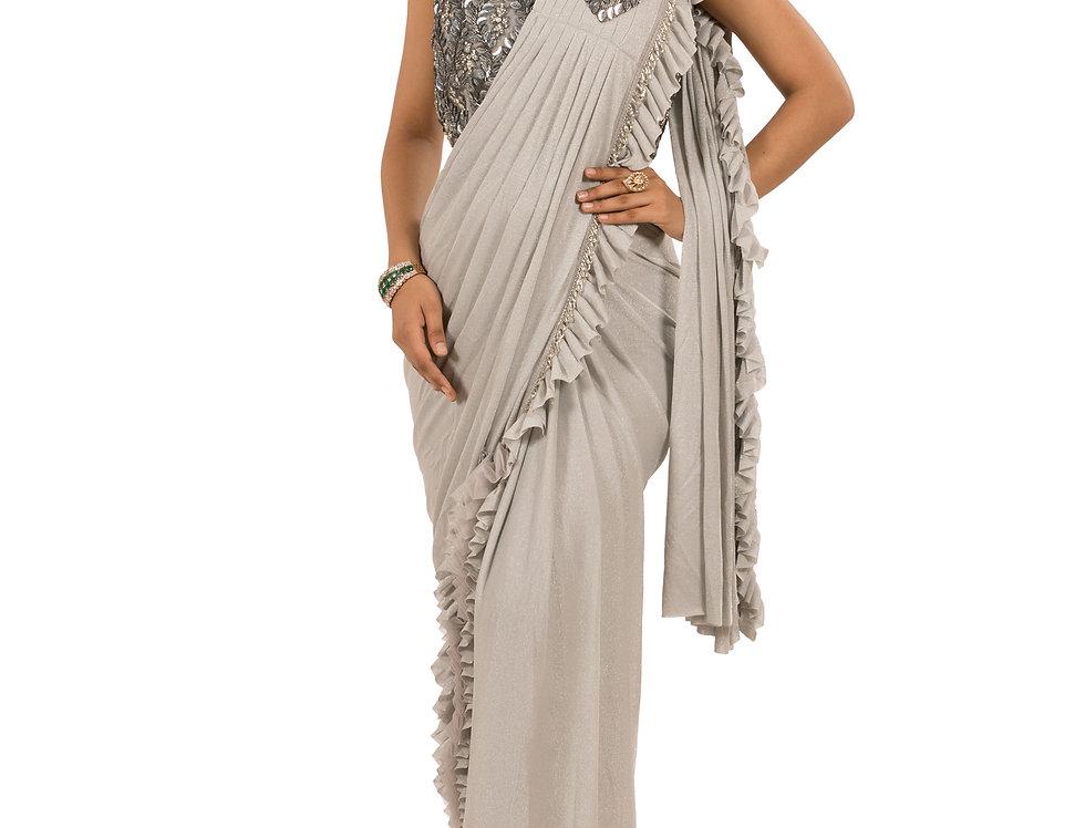 Grey Base Lycra Designer Saree with Blouse (Style Code: 2368122)