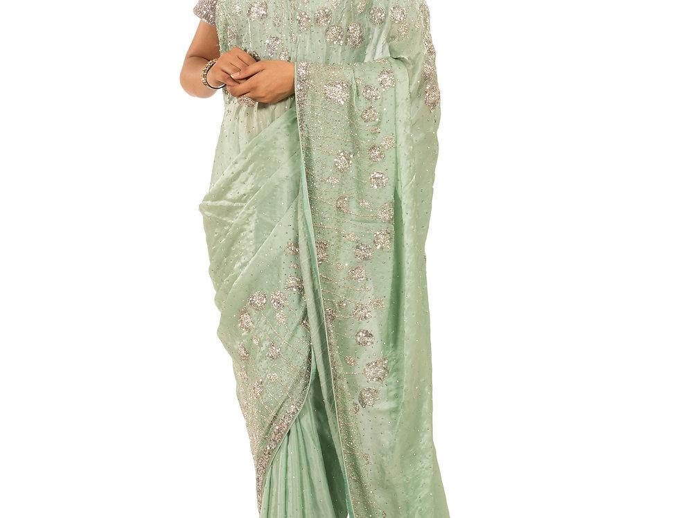 Sea Green Chunon Silk Saree with Zarkan Work & Blouse (Style Code: 2332516)