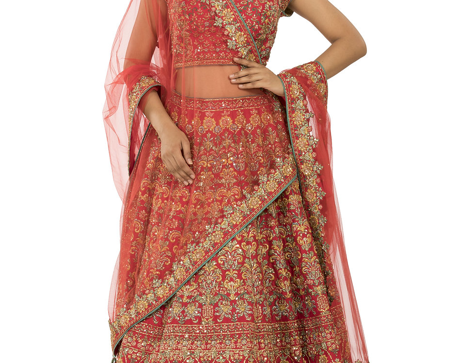 Red Zari Work Silk Lehenga with Dupatta (Style Code: 2353864)