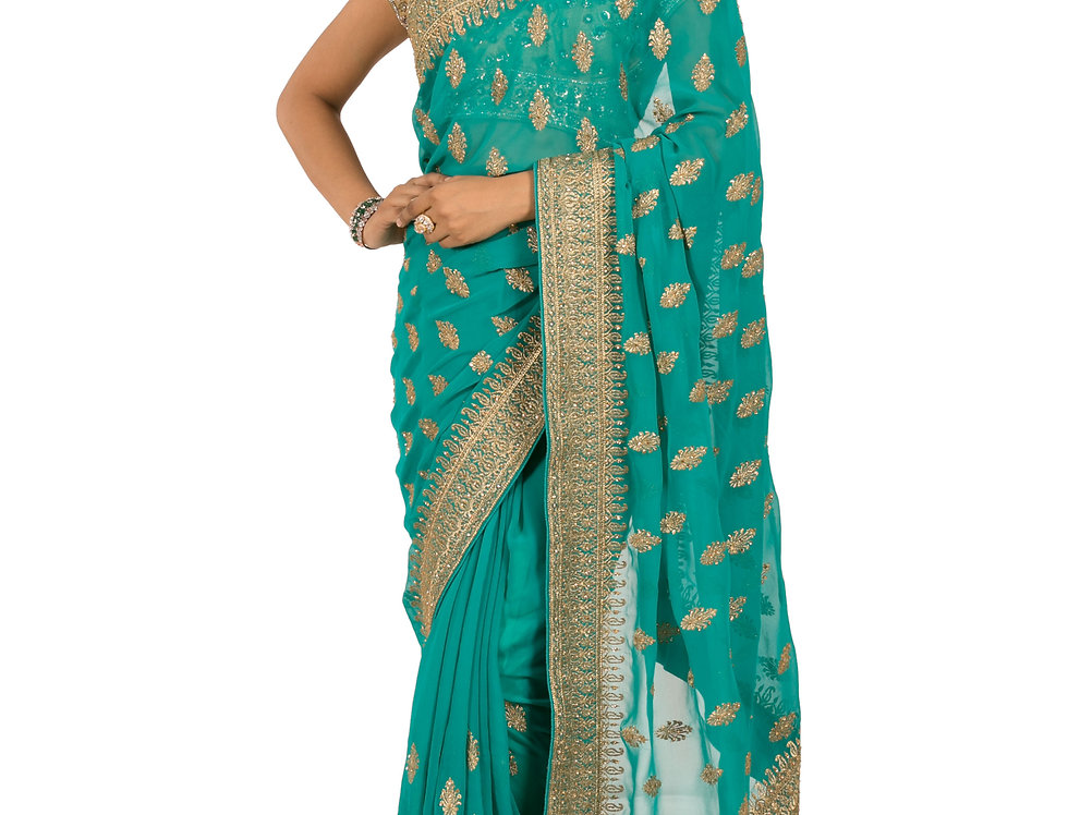 Firozi Base Georgette Designer Saree with Blouse (Style Code: 2380726)