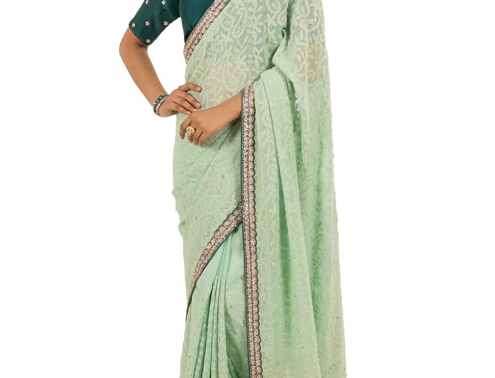Sea Green Georgette Designer Saree with Dark Green Blouse (Style Code: 2333634)