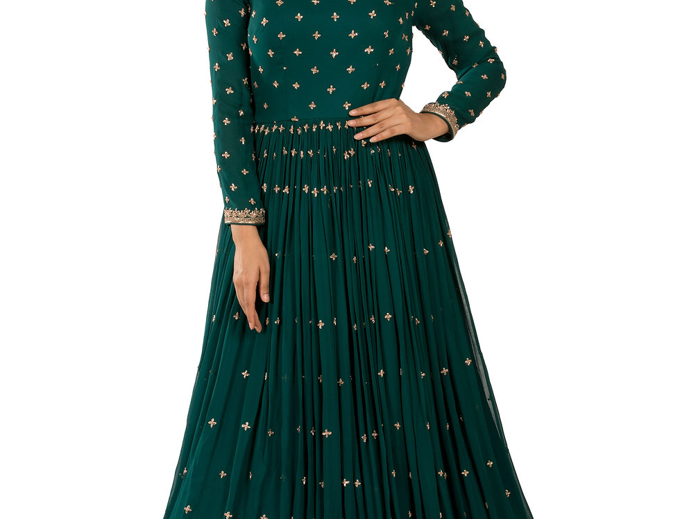 Turquoise Base Readymade Georgette Gown (Style Code: 2366908)