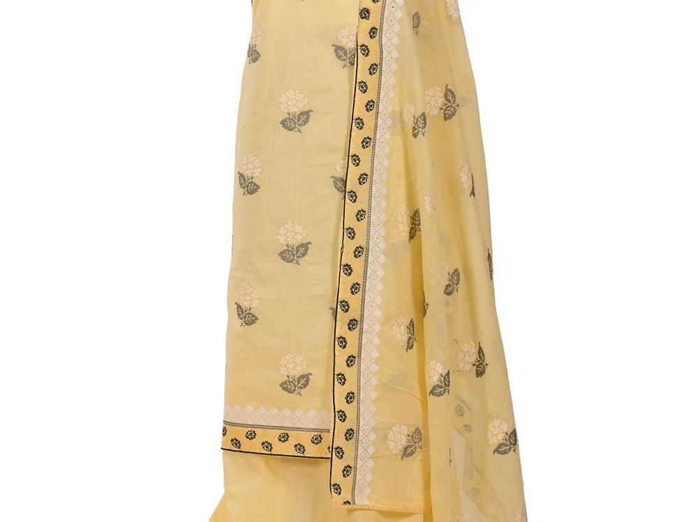 Lemon Base Cotton Unstitched Suit Salwar & Dupatta (Style Code: 2389366)