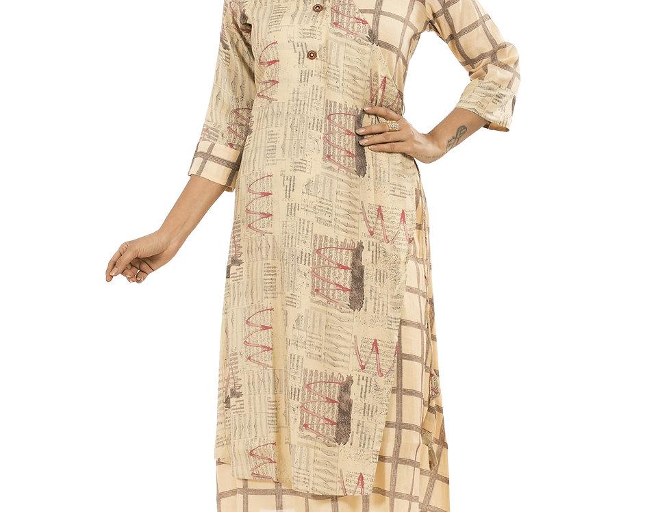 Beige Light Gold Base Cotton Designer Printed Long Kurti (Style Code: 2377254)