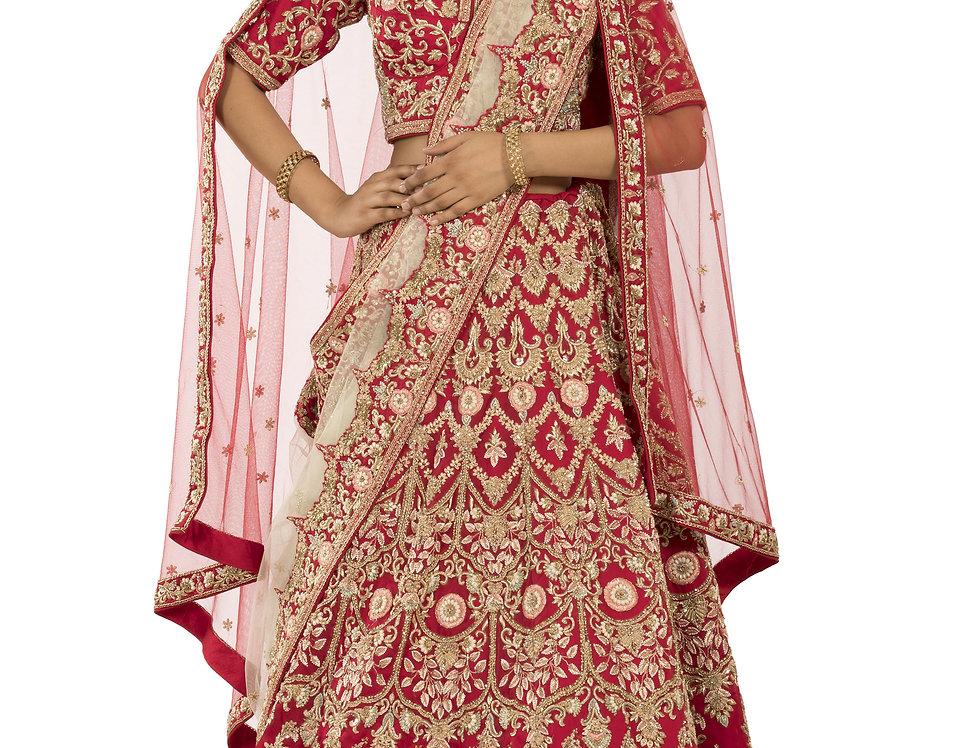 Red Bridal Zardozi Work Lehenga & Two Seperate Dupattas (Style Code: 2366057)