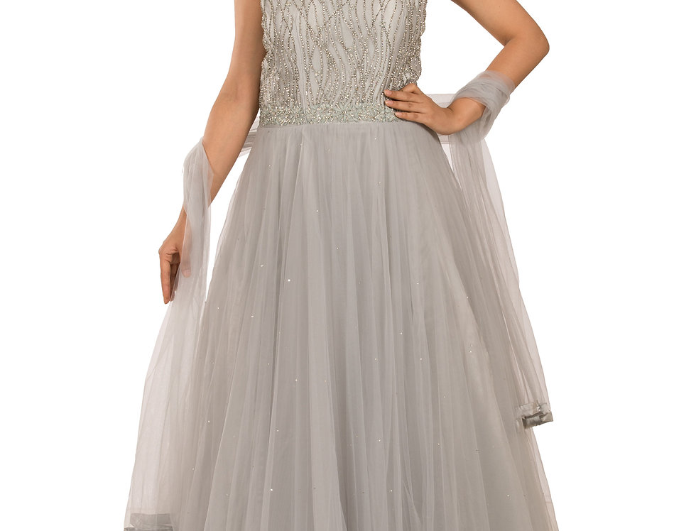 Grey Party Wear Dress with Zarkan & Resham Work (Style Code: 2359553)
