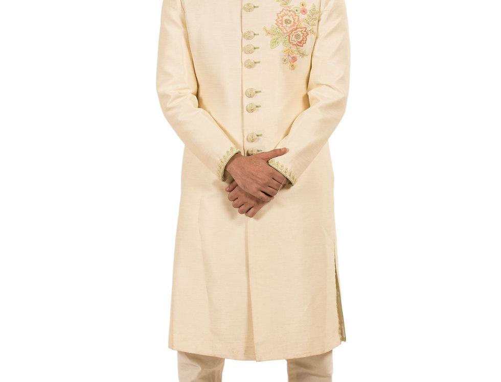 Cream Base Dupion Sherwani with Embroidery & Churidar (Style Code: 2339100)