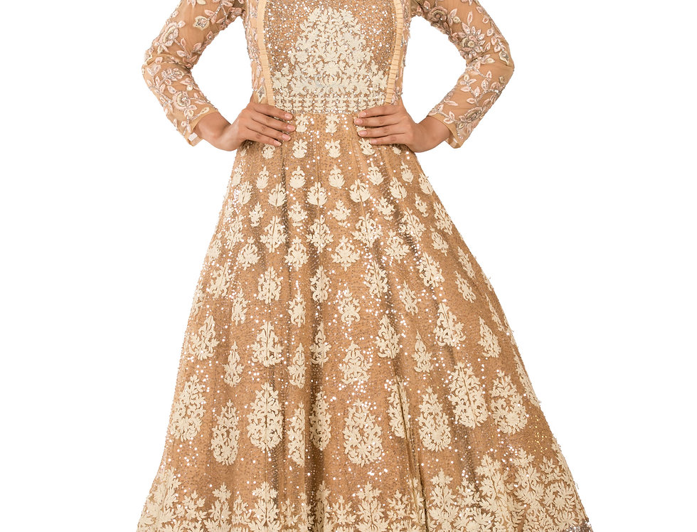 Golden Base Party Wear Gown with Sequence & Thread Work (Style Code: 2329494)