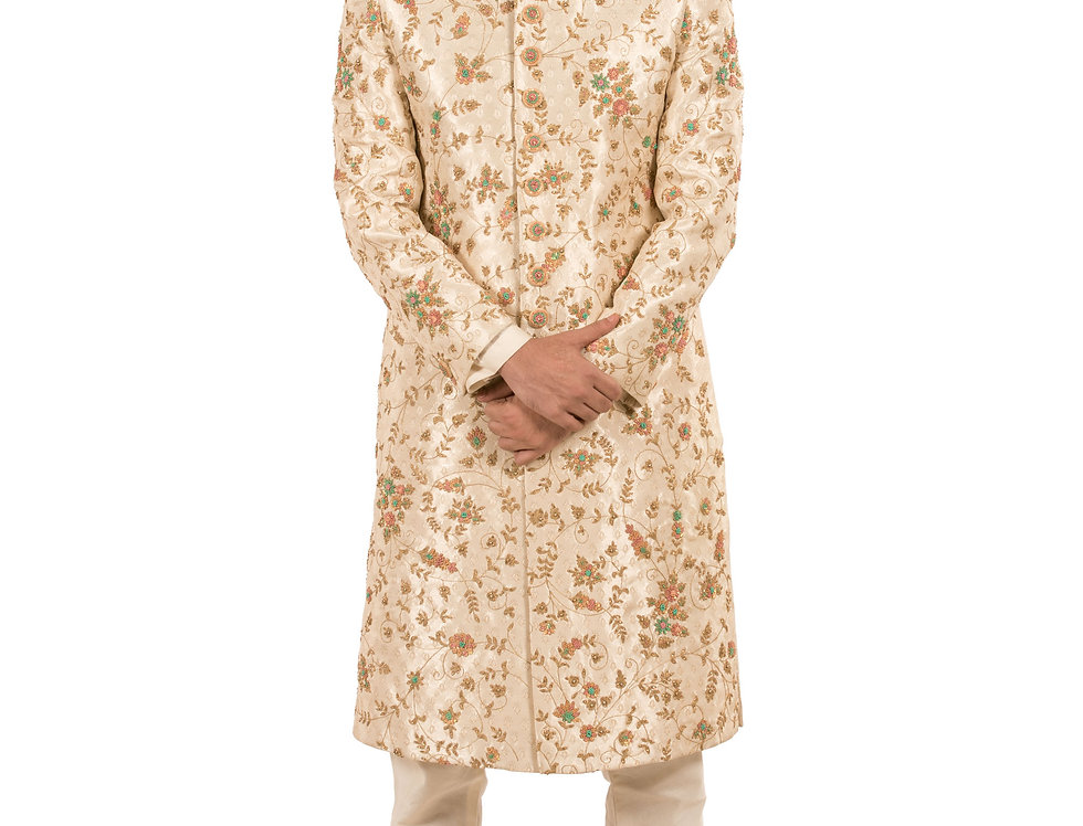 Cream Base Brocade Sherwani with Embroidery & Churidar (Style Code: 2308687)