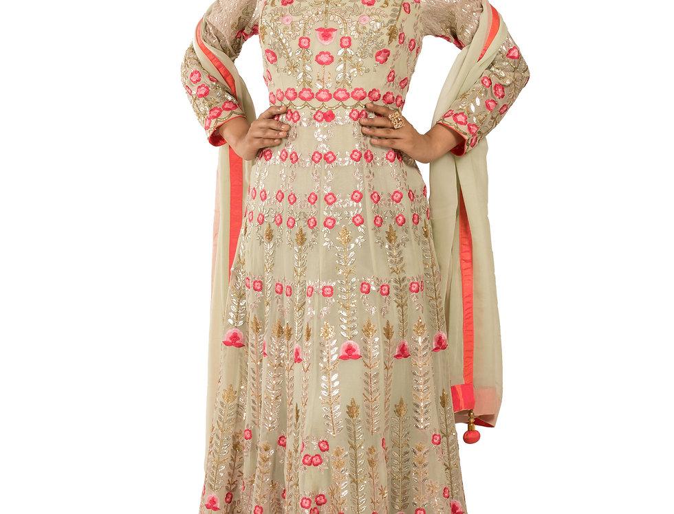 Pista Green Base Anarkali Suit with Zari Work & Dupatta (Style Code: 2362616)