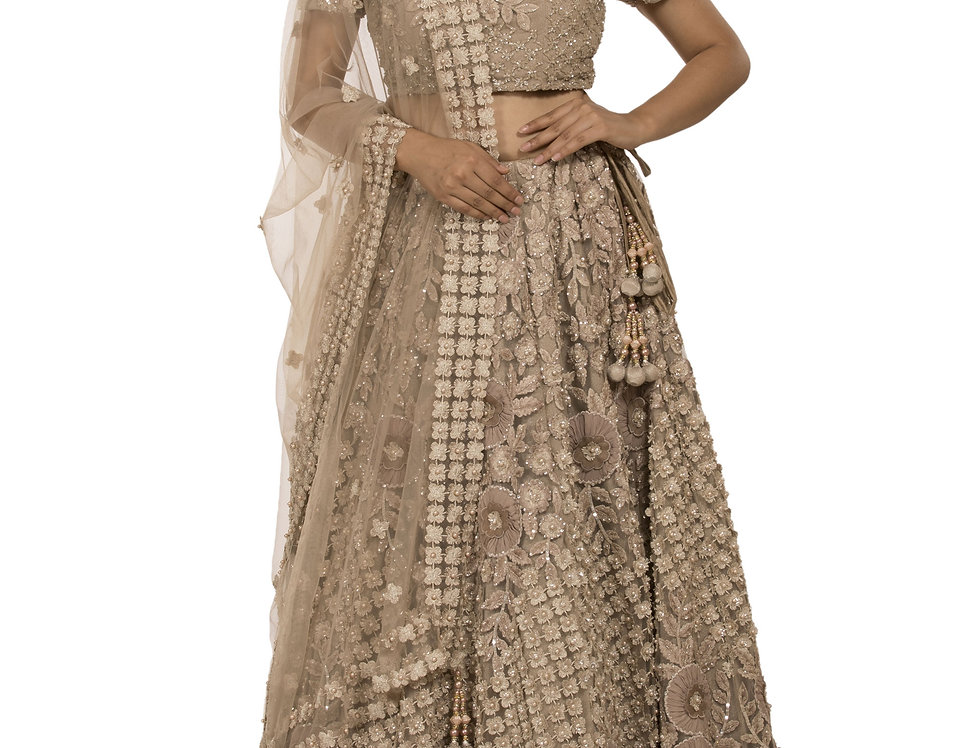 Stone Color Party Wear Lehenga with Self Thread Pearl Work (Style Code: 2384232)