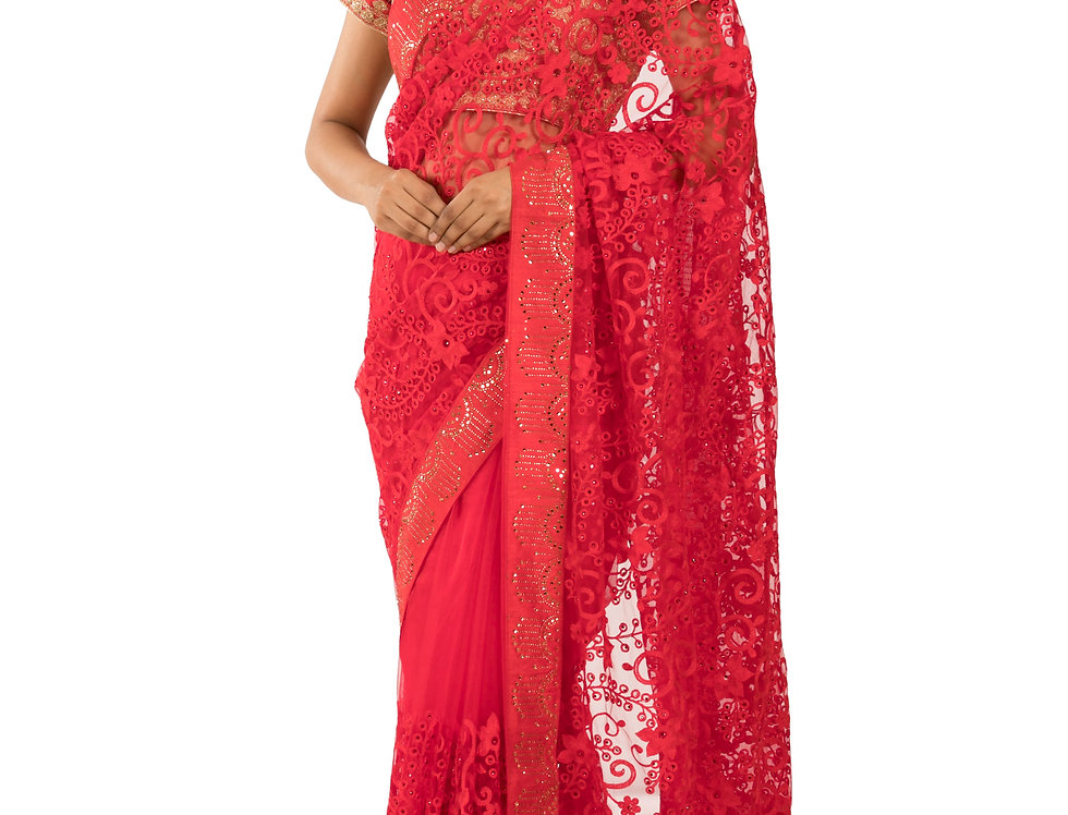 Red Base Net Designer Saree with Thread Work & Blouse (Style Code:2389745)