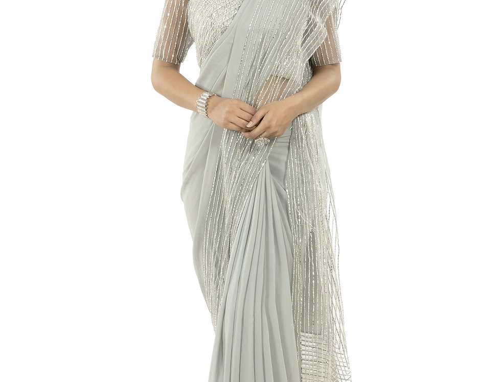 Grey Designer Georgette & Net Saree with Stone Work & Blouse (Code: 2382747)