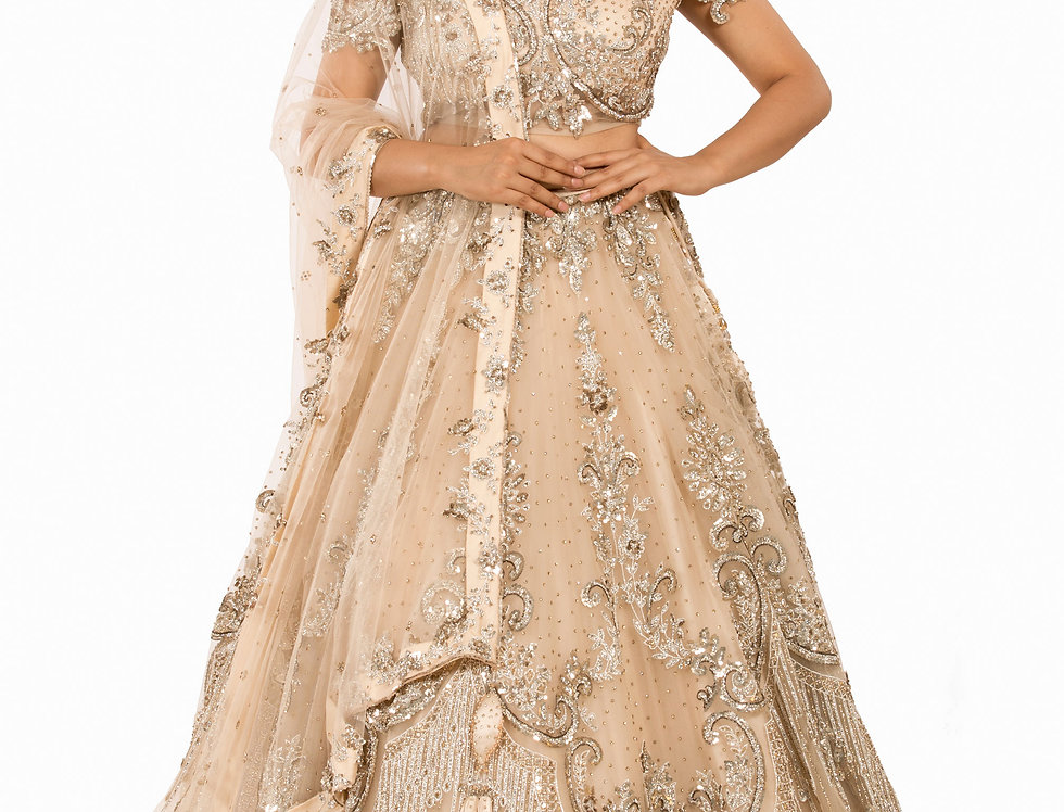 Champagne Gold Party Wear Lehenga with Dupatta (Style Code: 2378644)