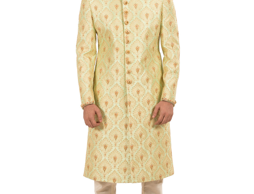 Mint Base Dupion Sherwani with Embroidery & Churidar(Style Code: 2340490)