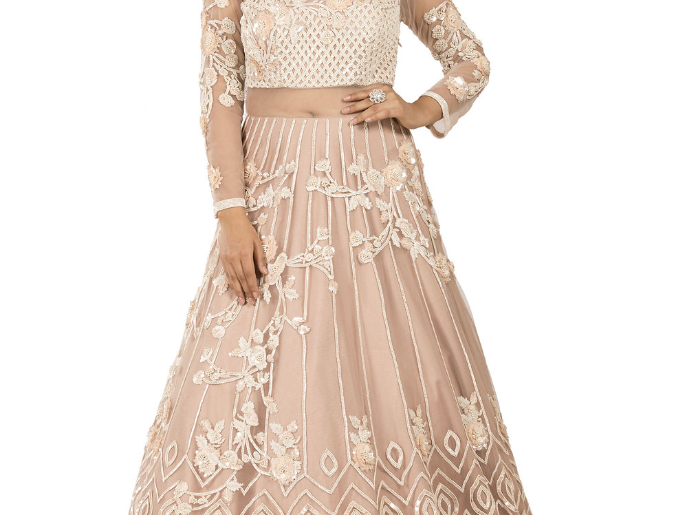 Dusty Pink Party Wear Gown with Multicolor Sequence Work (Style Code: 2329131)