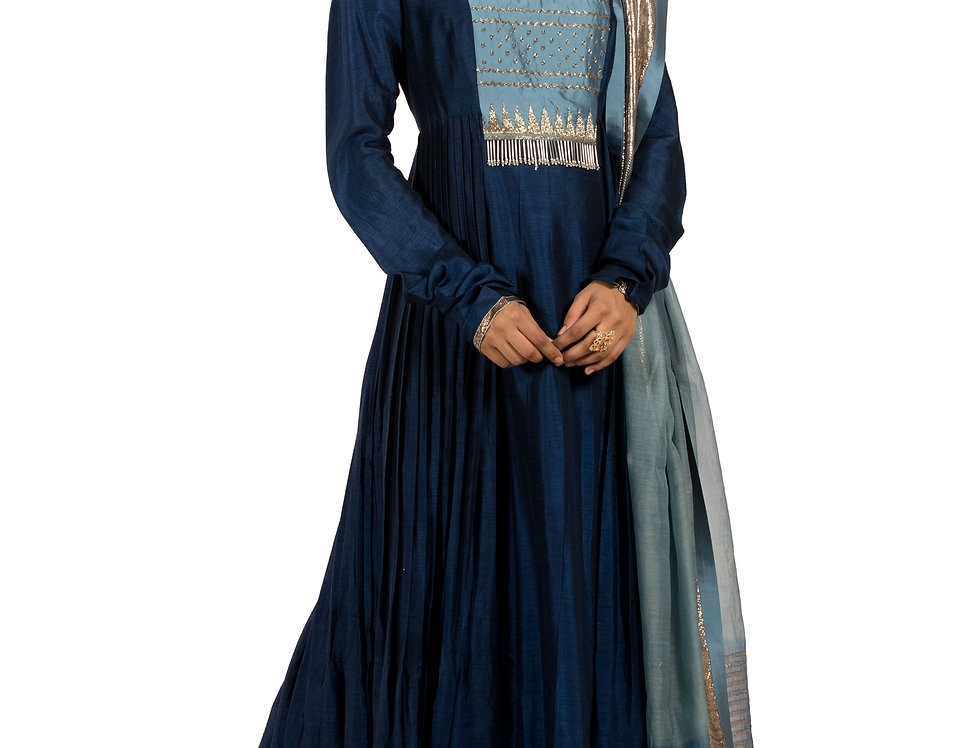 Blue Silk Anarkali Suit with Embroidery Work & Dupatta (Style Code: 2305278)