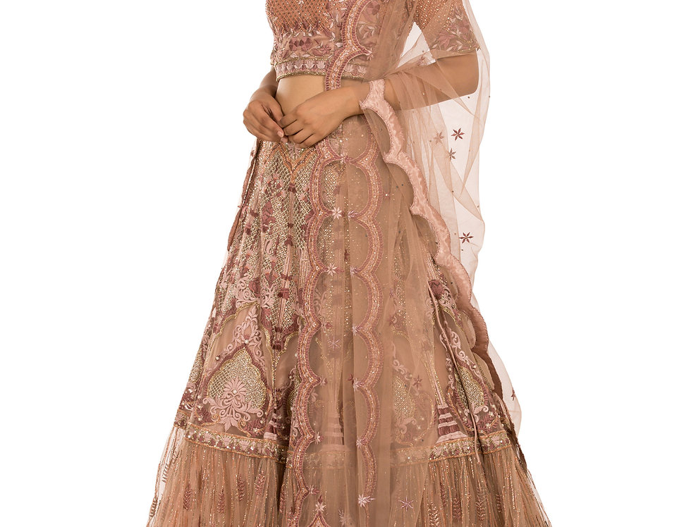 Onion Pink Party Wear Sharara Lehenga with Thread work (Style Code: 2389712)