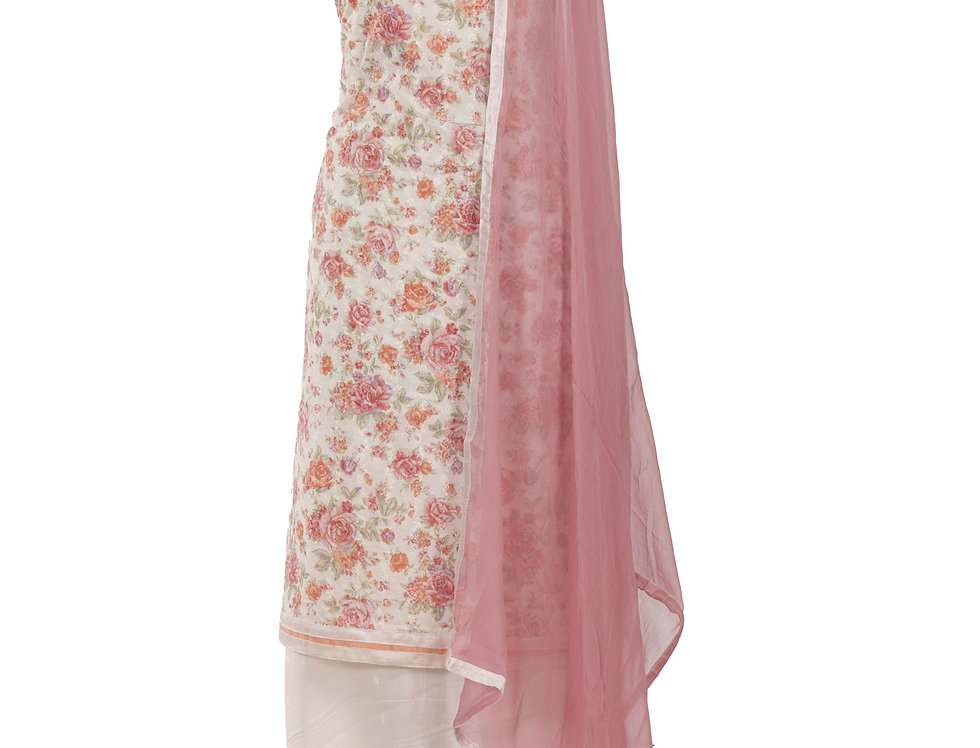 White & Pink Cotton Unstitched Suit Salwar & Dupatta (Style Code: 2384055)