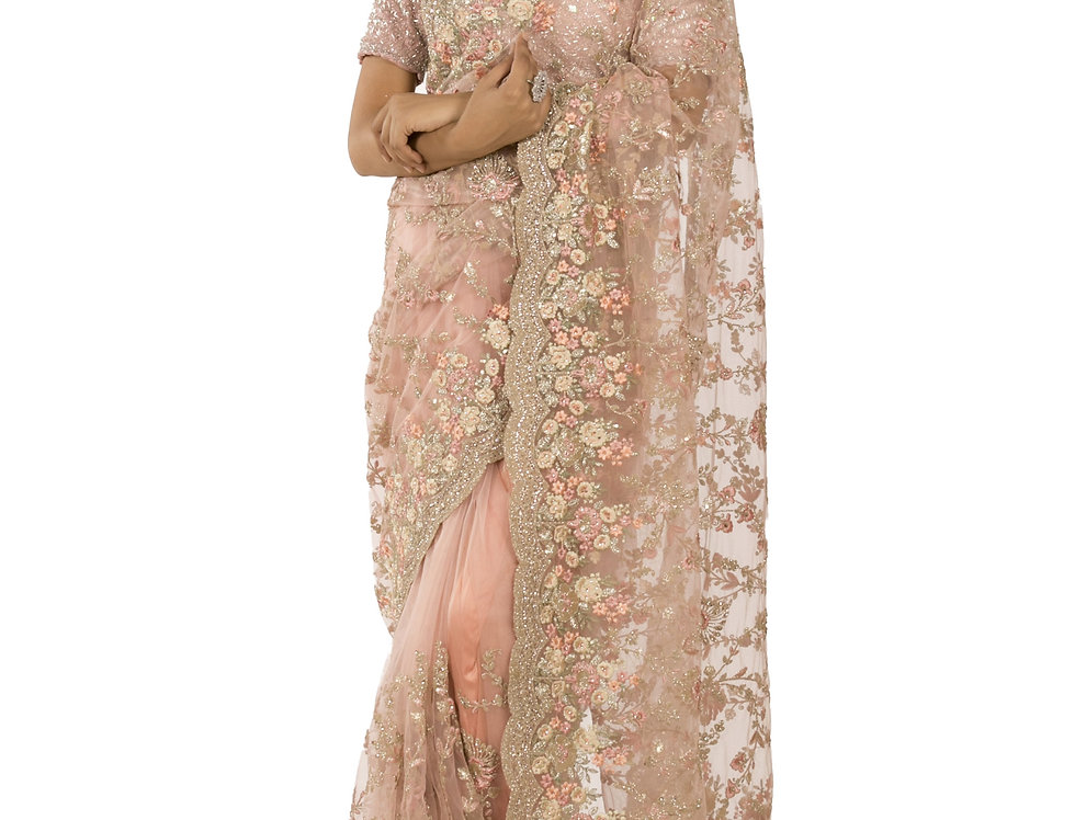 Pink Base Net Designer Saree with Zari Work & Blouse (Style Code: 2389733)