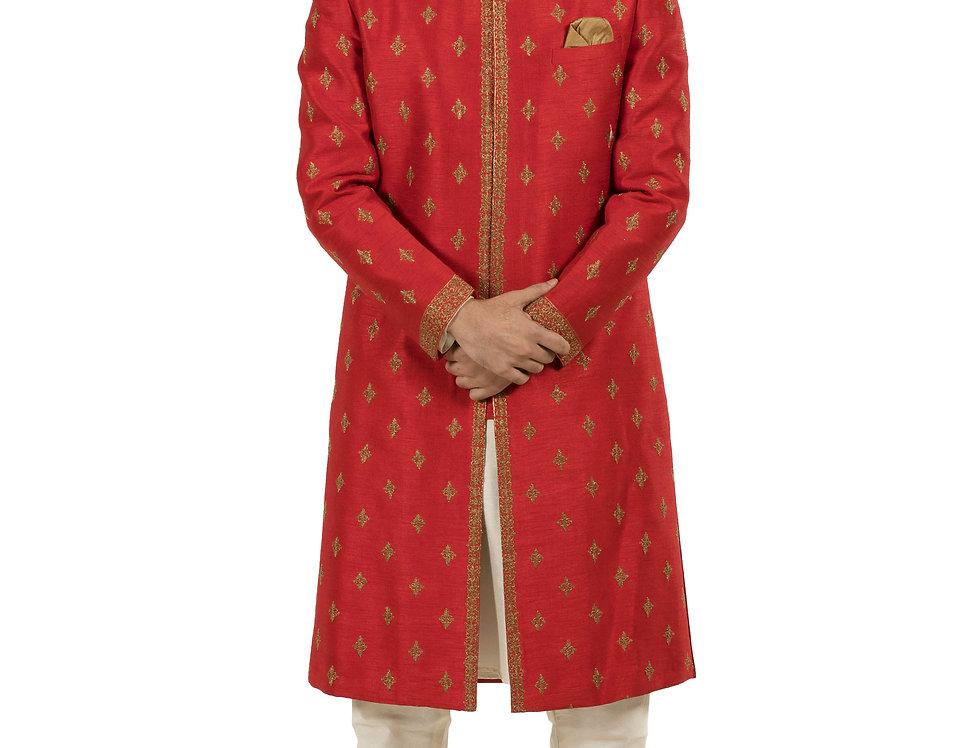 Red Base Silk Sherwani with Embroidery & Churidar (Style Code: 2141417)