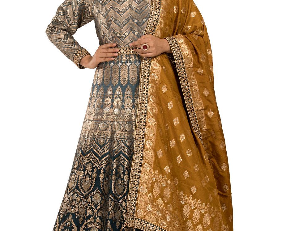 Blue to Grey Shaded Banarasi Silk Anarkali Suit & Dupatta (Code: 2366054)