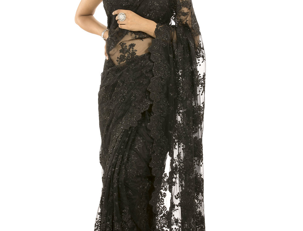 Black Net Designer Saree having Stone Work with Blouse (Style Code: 2374094)