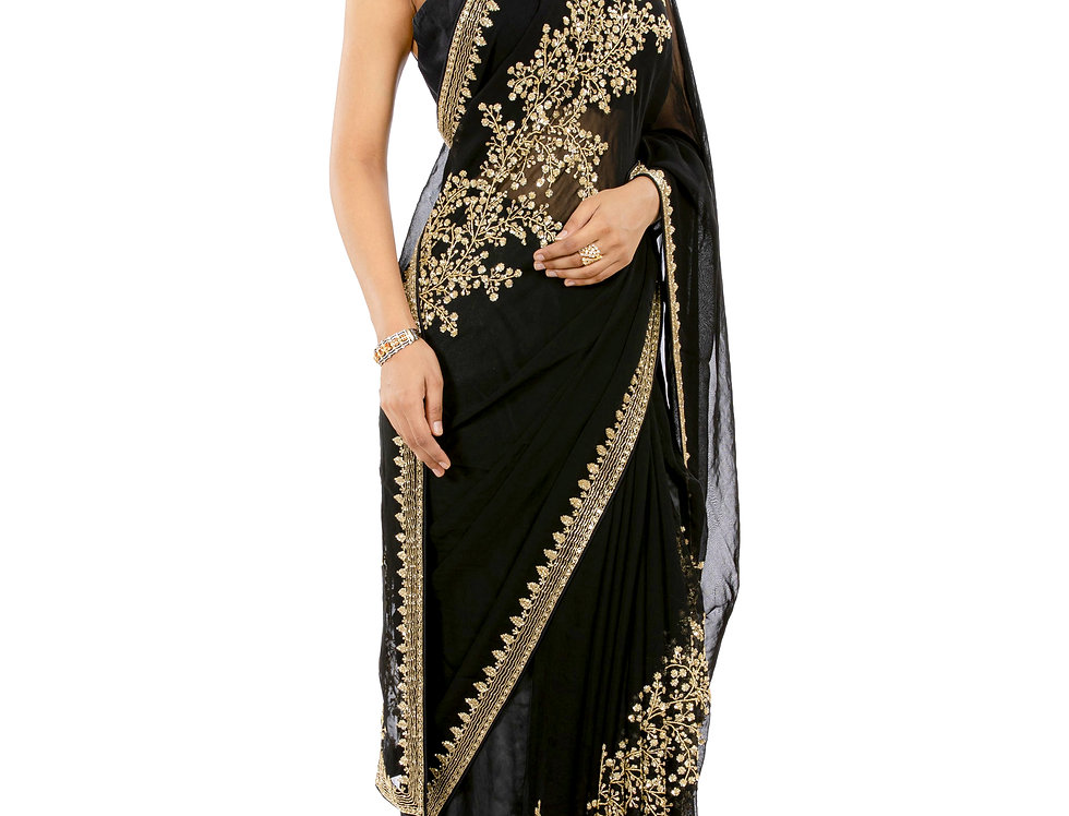 Black Georgette Saree with Sequence Work & Blouse (Style Code: 2372186)