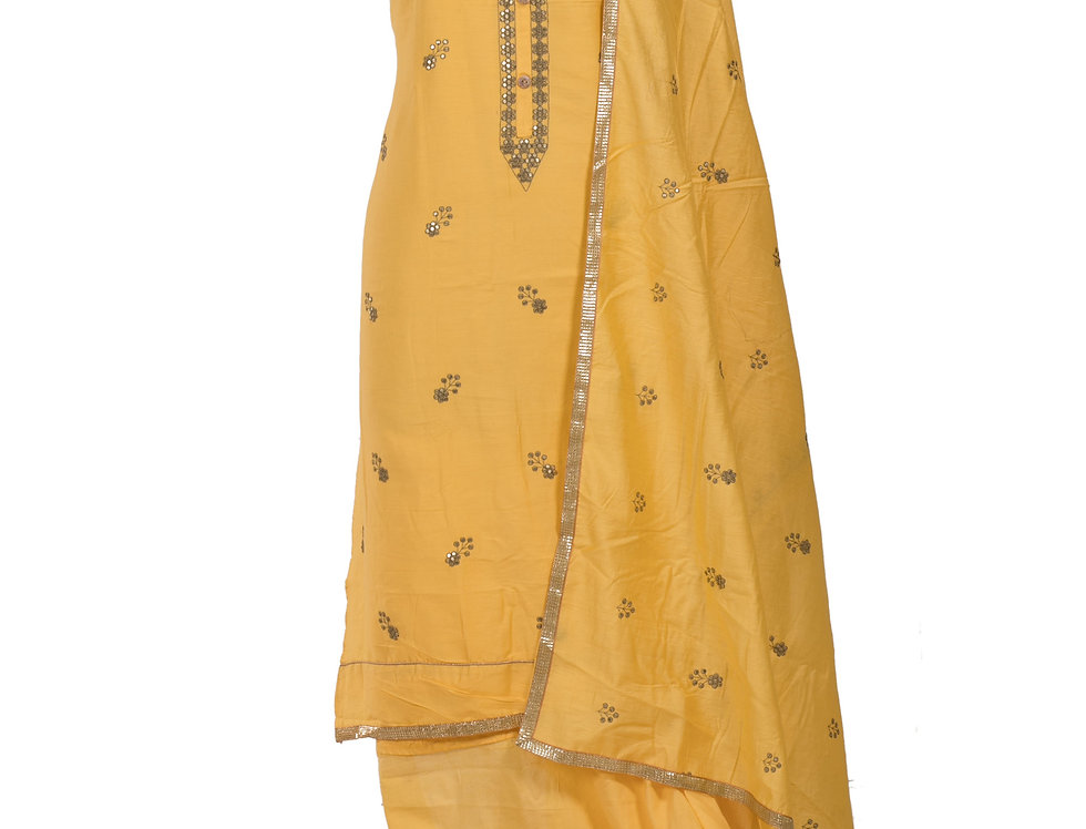 Yellow Base Cotton Unstitched Suit Salwar & Dupatta (Style Code:2385535)