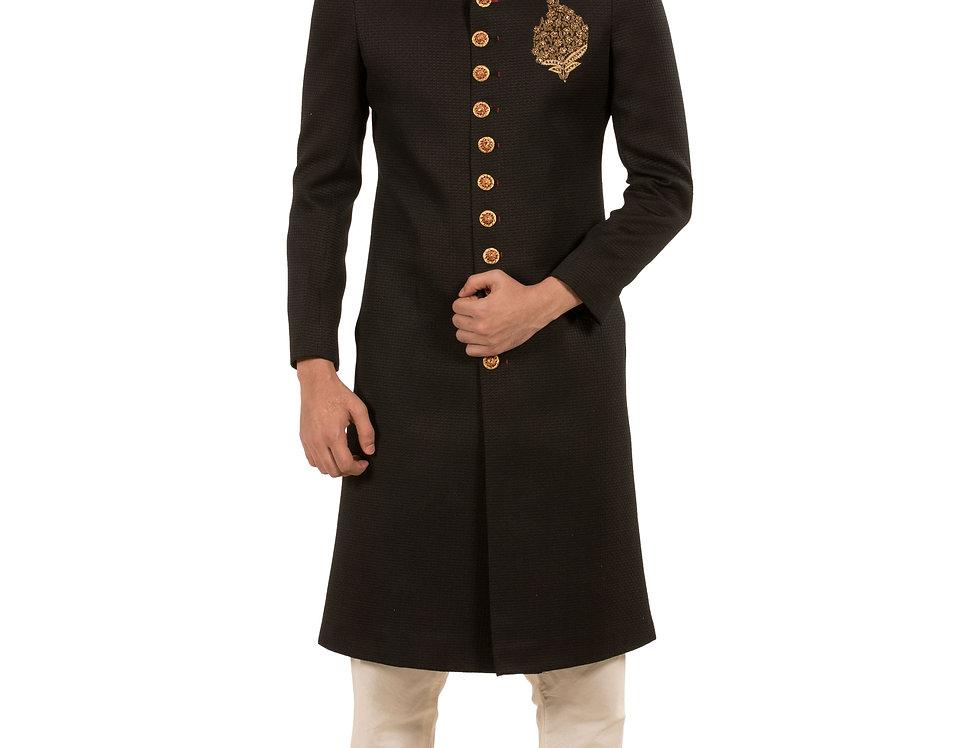 Black Base Jodhpuri Sherwani with Embroidery & Churidar( Style Code: 2308685)