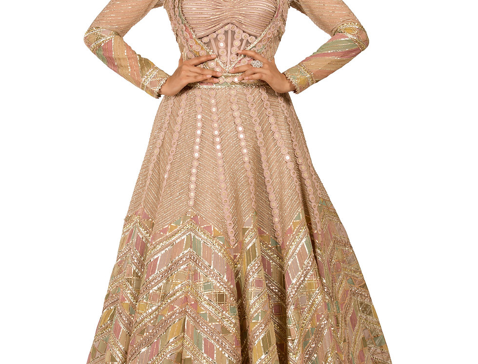 Light Peach Party Wear Dress with Gota & Applique Work (Style Code: 2381474)