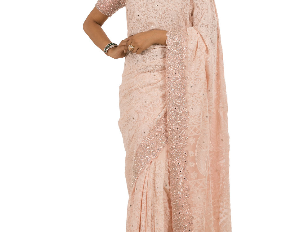 Peach Base Georgette Designer Saree with Blouse (Style Code: 2379210)