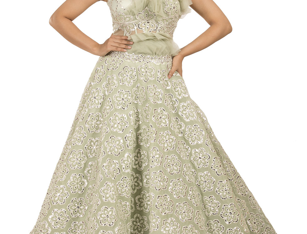 Sea Green Party Wear Gown with Silver Applique Work (Style Code: 2355686)