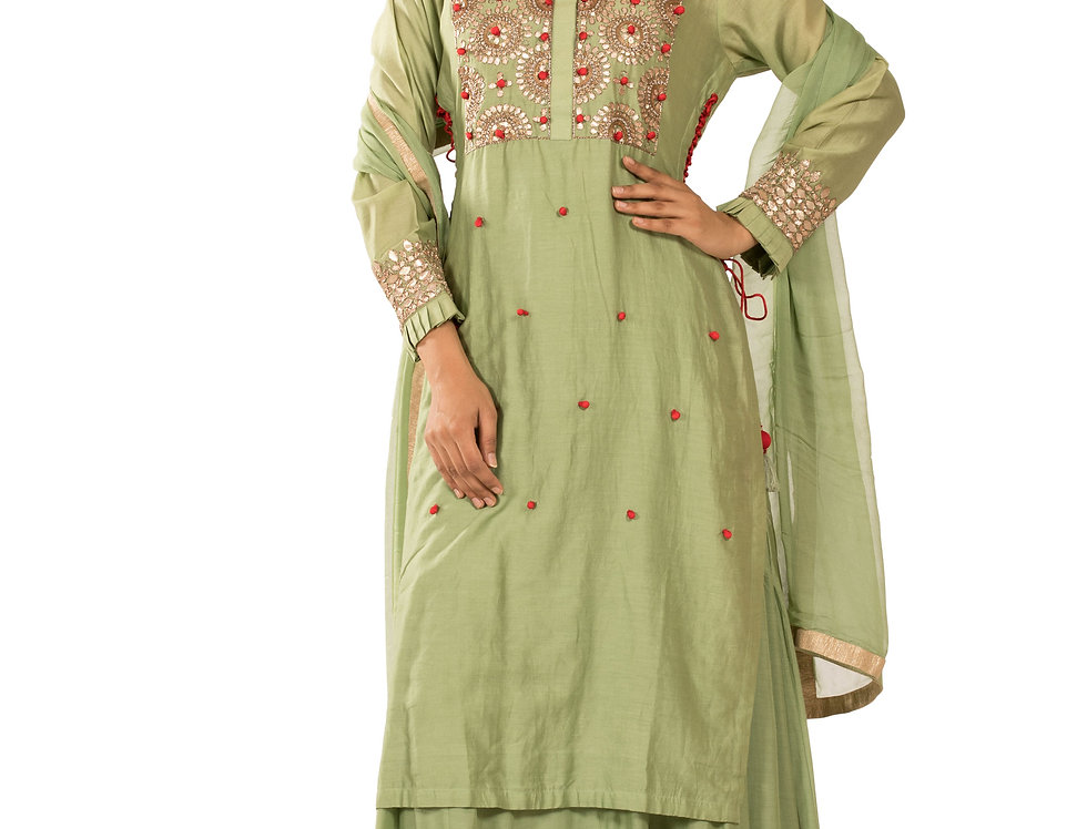 Pista Green Readymade Suit with Skirt & Dupatta (Style Code: 2352039)