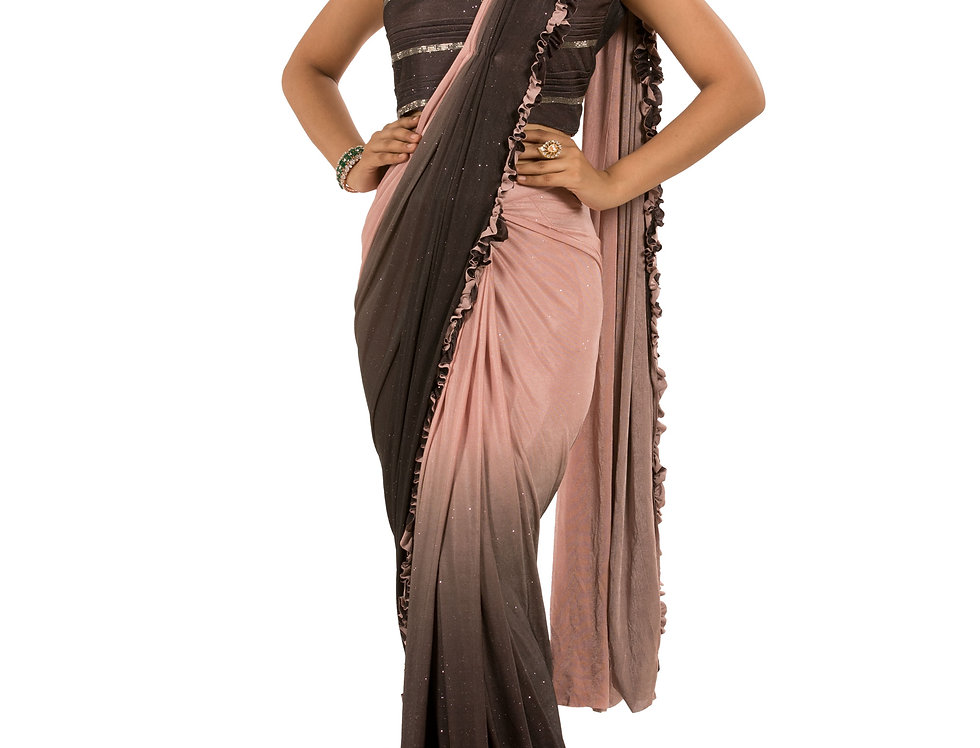 Brown to Peach Lycra Designer Saree with Blouse (Style Code: 2390813)