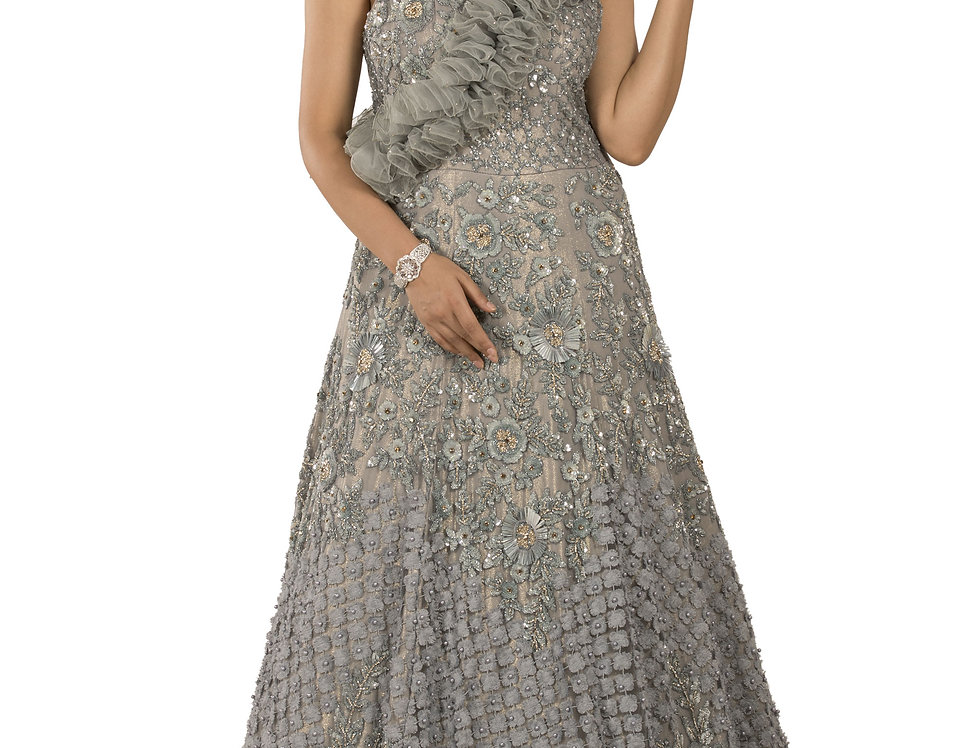 Grey Base Party Wear Gown with Self Embroidery Work (Style Code: 2358348)