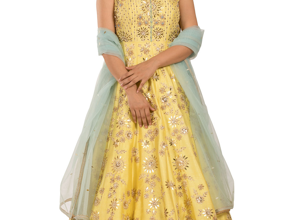 Yellow Anarkali Suit with Swarovski & Embroidery & Dupatta (Style Code: 2311458)