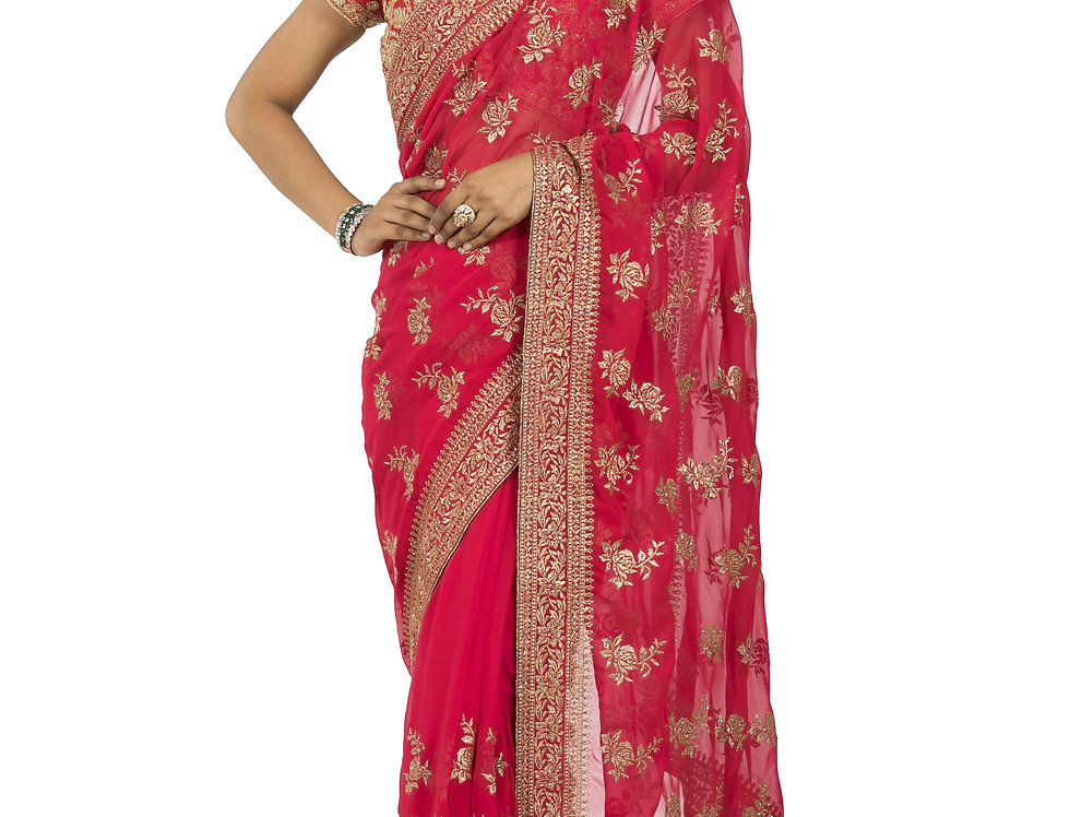 Rani Pink Base Georgette Designer Saree with Blouse (Style Code: 2377130)