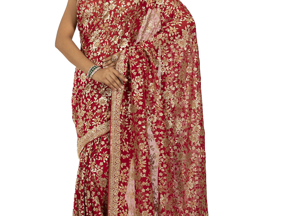 Red Base Georgette Designer Saree with Aari Work & Blouse (Style Code:2387023)