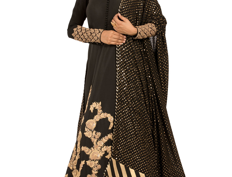 Black Georgette Anarkali Suit with Zari Work & Dupatta (Style Code: 2388469)