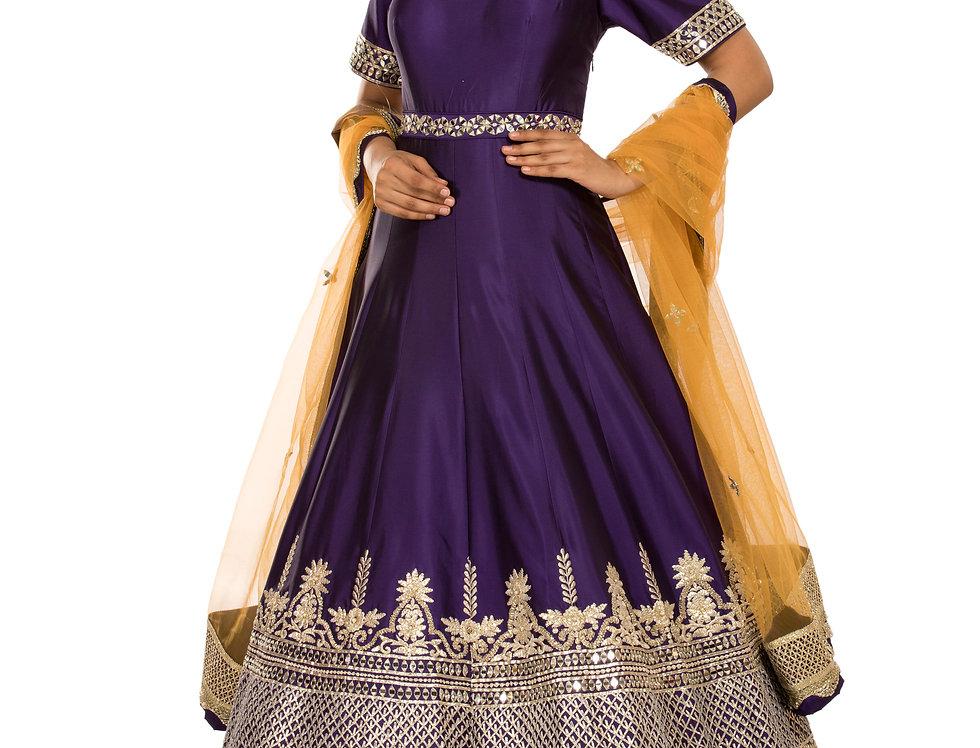 Purple Gotta Patti & Zari Anarkali Suit & Mustard Dupatta (Style Code: 2382981)