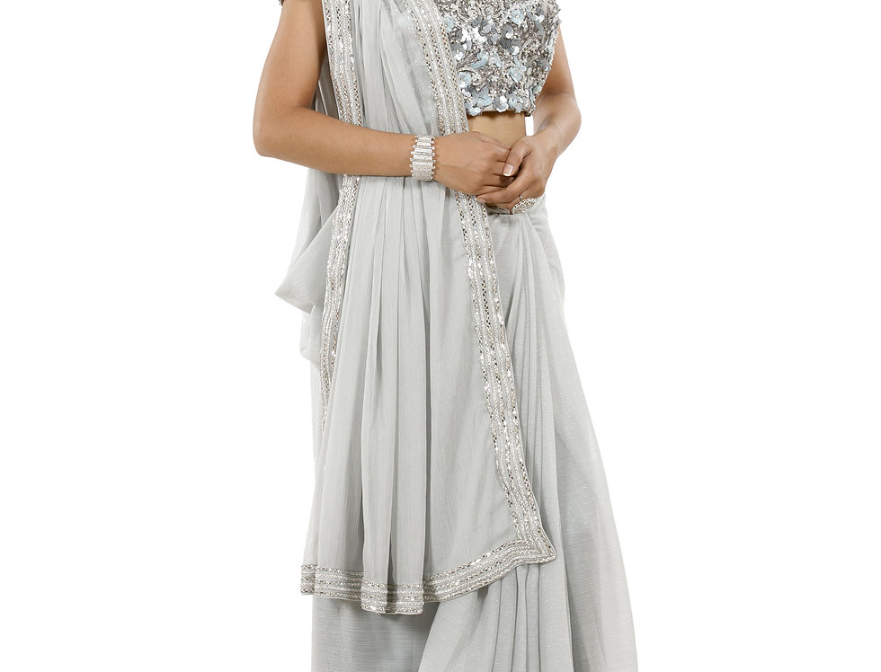 Grey Base Georgette Saree with Stone Work & Net Blouse (Style Code: 2370018)