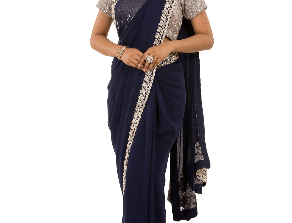 Blue Georgette Saree with Zarkan & Dabka Work & Blouse (Style Code: 2368897)